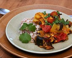 Moroccan Chicken, one-pot chicken and eggplant stew perfumed with Moroccan spices ~ Weight Watchers PointsPlus 8 ~ KitchenParade.com