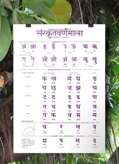 Sanskrit Alphabet Poster by Heidi Scholze, via Behance Sanskrit Grammar, Sanskrit Language, Sanskrit Words, Tamil Language, Sanskrit Quotes, Alphabet Poster, Alphabet Charts, Nursery Worksheets, Alphabet Worksheets