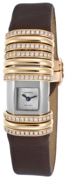 Cartier Women'S Diamond Declaration Brown Satin Strap Silver-Tone Dial in Brown