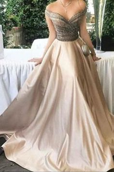 Make it white and its a perfect wedding dress! Off shoulder prom dress, ball gown, elegant ivory satin long dress for prom 2017 Prom Dresses 2018, Ball Gowns Prom, Dress Prom, Dress Long, Party Dress, Bridesmaid Dresses, Beaded Prom Dress, Beaded Top, Bridesmaids