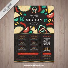 Dark mexican restaurant menu with food in flat design Free Vector                                                                                                                                                                                 More