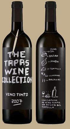 The tapas wine collection - hand rendered type matches the linework used for the illustrative elements on the back