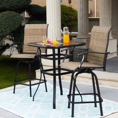 3 Piece Bistro Set, 3 Piece Dining Set, Dining Sets, Small Patio Furniture, Outdoor Furniture Sets, Furniture Ideas, Garden Furniture, Aluminum Patio, Outdoor Dining Set
