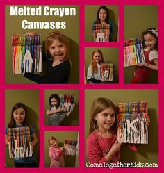 Several weeks ago, I shared the Melted Crayon Canvas I made with my youngest daughter. It was so much fun and turned out so cute, that I d. Classroom Art Projects, Art Classroom, Projects For Kids, Craft Projects, Crayon Crafts, Crayon Art, Melted Crayon Canvas, Fun Crafts, Crafts For Kids