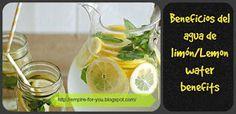 Beneficios del agua de limon sobre nuestro cuerpo/ Lemon water benefits on our body. http://empire-for-you.blogspot.com/2015/06/beneficios-del-agua-de-limon.html