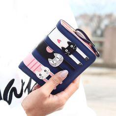 Best Deal New Maison Fabre Good Quality Women Wallet Cartoon Mini Lovely Cats Bifold Wallet Card Holder Wallet Purse Gift 1PC