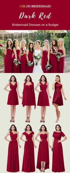 dfb34201cd735 The dark red short and long bridesmaid dresses are tailor made to all sizes  including plus