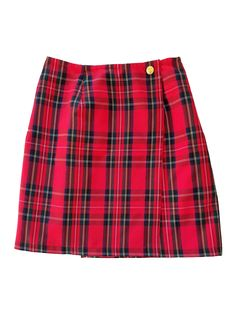 Red Plaid Wrap Skirt