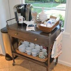 Serving Cart Coffee Bar - DIY Coffee Bar - Perk Up Your Home Design - Bob Vila