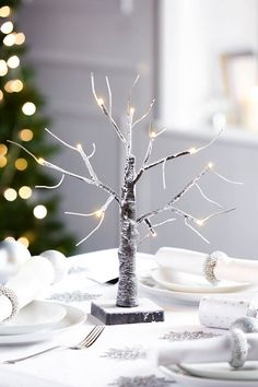 Buy the Frosted Tree Light From K Life. Your online shop for K-LifeOccasions Elegant Christmas, Christmas 2016, All Things Christmas, Christmas Lights, Christmas Tree, Light Up Tree, Christmas Table Decorations, Tree Lighting, Place Settings