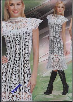 muçambê artesanato: Vestido Renda Crochê + Renda Bruges. Super delicado!!!