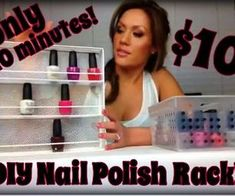 10 Minutes, $10 and 1 Tool DIY Nail Polish Rack  Made from 3 wire hangers cut and a metal utensil holder spray painted.  It's a tutorial video!!!!