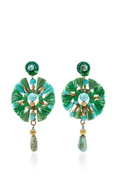 Green Fan Earrings by RANJANA KHAN Now Available on Moda Operandi