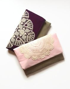 Bridesmaids Fold Over Clutch Linen and Lace by JuneberryStitches