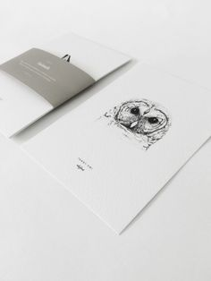 Set of 4 cards with hand drawn illustrations by inkylines of the tawny owl, European hare, red fox and the beech marten.