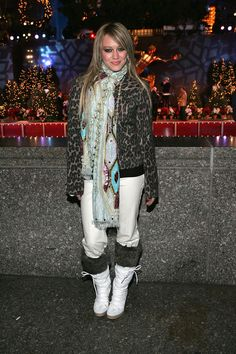 Hilary Duff's animal print, furry boots, scarf, and whatever else is going on there. | Can You Make It Through These Early 2000s Outfits Without Screaming For Mercy?