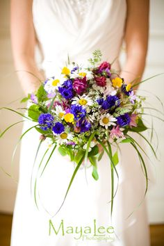 Wedding bouquet with summer flowers