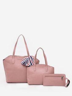 bea5cf1a38c Bow Minimalist Large Capacity 3 Pieces Shoulder Bag Set - LIGHT PINK