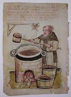 A medieval monk brewing beer, from Die Nürnberger Hausbücher, Medieval Life, Medieval Fashion, Medieval Clothing, Medieval Art, Medieval Fantasy, Ancient Egypt History, Medieval Paintings, Homemade Beer, Ancient Mysteries