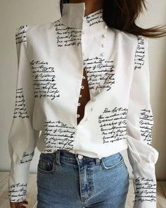 Stand Neck Letter Print Buttoned Shirt – chiclinen blouses shirts style v neck t shirts white v neck blouse ruffled trimmed short sleeve v neck blouse Trend Fashion, Look Fashion, Fashion Outfits, Womens Fashion, Fashion Shirts, Emo Outfits, Lolita Fashion, Ladies Fashion, Fashion Styles