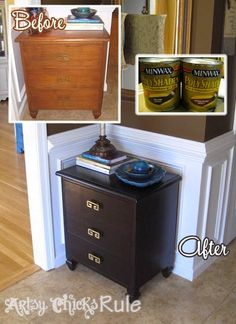 Super Easy!!! Way to Transform & Update Wood Stained Furniture -Minwax PolyShades #polyshades