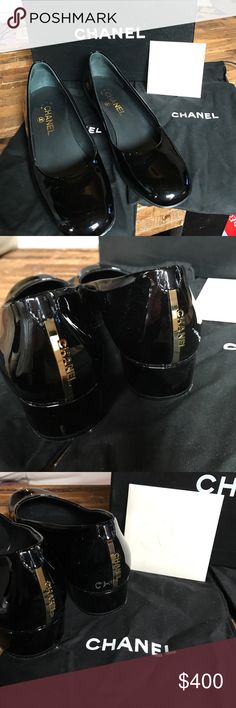 Chanel Black Escarpins low pump size 39 The Perfect Shoe. Classic Low Pump in Patent Leather with Chanel Gold name plate down on the heel for a touch of glamour. Don't miss these. CHANEL Shoes Heels
