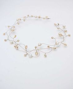 Pearl hair wrap, Wedding gold head band, vintage inspired, triple strand halo crown, wire wrapped - ADELE
