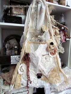 Shabby Doily Lace Upcycled Tote  Vintage Romantic Lace by suziqu, $125.00
