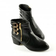 $29.99 British Style Women's Short Boots With Buckles and Stone Pattern Design