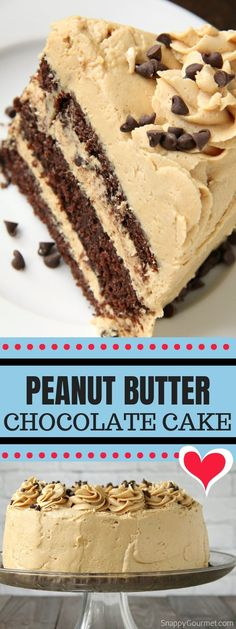 Homemade Peanut Butter Chocolate Cake, including a one bowl chocolate cake recipe and fluffy peanut butter frosting all from scratch. This three-layered tasty cake is the best for birthdays, parties, and special occasions! Peanutbutter Cake Recipe, One Bowl Chocolate Cake Recipe, Chocolate Cake From Scratch, Cake Recipes From Scratch, Cake Chocolate, Chocolate Peanutbutter Cake, Chocolate Desserts, Dessert From Scratch, Peanut Butter Frosting