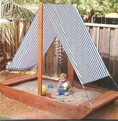 "Cute sandbox ideas for your backyard. Bateau Sandbox, ""Sandbox - I want the roof of this to be the roof of Madison's play house. Kids Outdoor Play, Kids Play Area, Backyard For Kids, Outdoor Fun, Diy For Kids, Garden Kids, Backyard Shade, Garden Shade, Outdoor Toys"