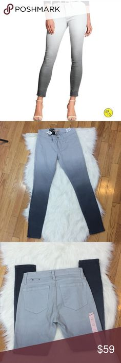 """Banana Republic NWT Grey Ombré Skinny Jeans The retails tags have been ripped in half. No holes or stains. Front Pockets are faux pockets. 98% cotton 2% spandex. 12"""" waist across: 9"""" rise: 16"""" hip across: 27"""" inseam: no trades. Banana Republic Jeans Skinny"""