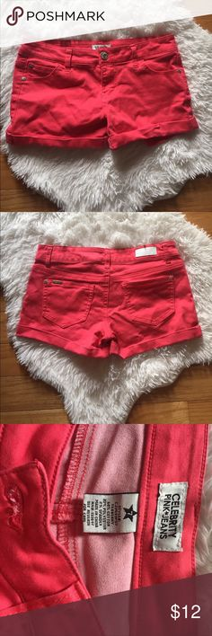 PINK JEAN SHORTS GUC, adds a pop of color to a plain top. Super Cute unfortunately they do not fit anymore 😞. Brand is Celebrity Pink Celebrity Pink Jeans