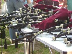 Bagpipes awaiting their masters Scottish Festival, Masters, Scotland, Master's Degree