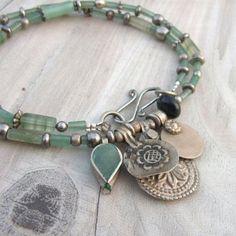 Nomadic Talisman Necklace - Persian Mint - Tribal Gypsy, Coin Jewelry, Pale Green, Dark Red - Nomadic Talisman Necklace – Persia by GypsyIntent. I never thought about doing a memory wir - Wire Jewelry, Boho Jewelry, Jewelry Crafts, Beaded Jewelry, Jewelry Box, Jewelry Bracelets, Handmade Jewelry, Fashion Jewelry, Jewelry Making