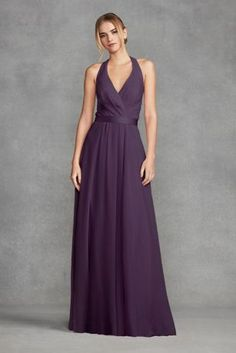 V Neck Halter Gown with Sash VW360214   Wedding Ideas   Pinterest     10918407   Chiffon Halter Bridesmaid Dress with Tulle Bow