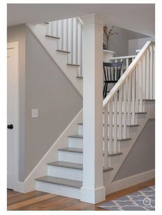 Striking photo go to our report for lots more concepts! Stairs Makeover basementstairway concepts lots Photo repo… in 2020 Painted Staircases, Painted Stairs, Wooden Stairs, White Staircase, Staircase Design, Basement Stairs, House Stairs, Carpet Stairs, Basement Ideas
