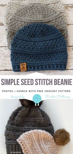 Newest Pics Crochet Hat free Style Simple Seed Stitch Beanie Free Crochet Pattern Beanie Pattern Free, Crochet Beanie Pattern, Kids Crochet Hats Free Pattern, Free Crochet Hat Patterns, Stitch Crochet, Crochet Motifs, Simple Crochet Patterns, Crochet Stitches, Crochet Pikachu