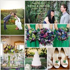 Cute gold shoes with emerald accent. Also love the invite. Splash photo with white writing.