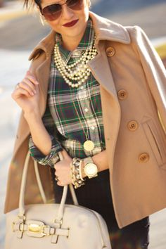 ...pearls and plaid.