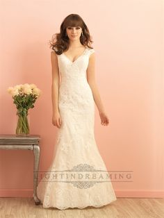 Cap+Sleeves+V-neckline+Mermaid+Lace+Wedding+Dress+with+Scoop+Back