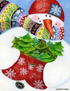 Artwork by Jennifer Lambein. #snowman #winter  #christmas