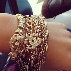 Stacked gold chains