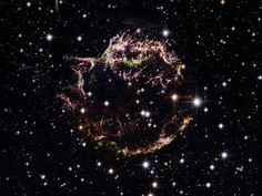 Wispy Supernova Remnants  Photograph courtesy NASA/ESA/Hubble Heritage Team    This Hubble Space Telescope image offers an intimate view of supernova Cassiopeia A's frayed remains. This spherical object is the youngest supernova remnant found to date within the Milky Way. This image is a mosaic of 18 separate images taken by Hubble's Advanced Camera for Surveys (ACS).