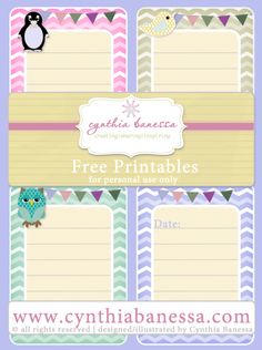 Free Printables –  3×4 Journaling Cards