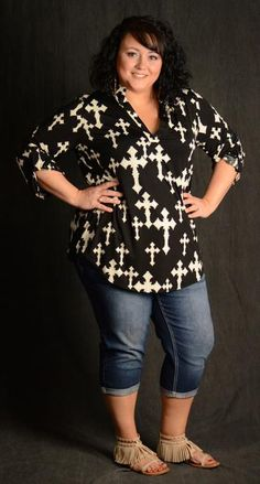 3919a7000383c Black Cross Print V-Neck Top - Curvy Plus Size Boutique - 2 Older Women