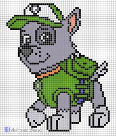 Paw Patrol Rocky - PAW Patrol perler pattern - Patrones Beads / Plantillas para Hama Buying A Luxury Paw Patrol Rocky, Hama Beads Patterns, Crochet Patterns, Cross Stitch Charts, Cross Stitch Patterns, Cross Stitching, Cross Stitch Embroidery, Modele Pixel Art, Stitch Character