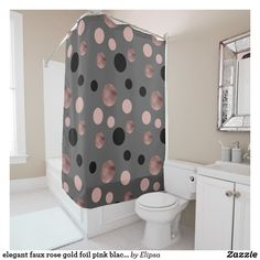 elegant faux rose gold foil pink black circles shower curtain
