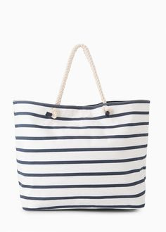Striped Cotton Bag With Braided Handle Zipped Inner Pocket And Snap On Fastening