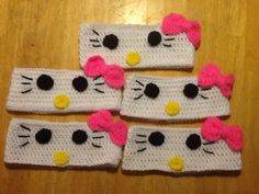 Hello Kitty headbands.....made by Jessica Baca (JJSS Crochets)